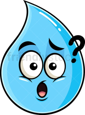 Confused raindrop emoticon. PNG - JPG and vector EPS file formats (infinitely scalable). Image isolated on transparent background.