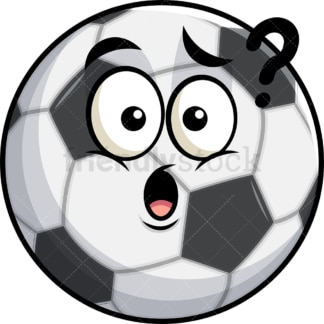 Confused soccer ball emoticon. PNG - JPG and vector EPS file formats (infinitely scalable). Image isolated on transparent background.