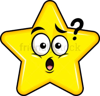 Confused star emoticon. PNG - JPG and vector EPS file formats (infinitely scalable). Image isolated on transparent background.