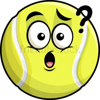 Confused tennis ball emoticon. PNG - JPG and vector EPS file formats (infinitely scalable). Image isolated on transparent background.