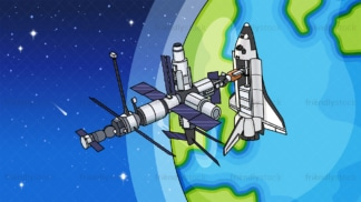 Space shuttle docking at iss background in 16:9 aspect ratio. PNG - JPG and vector EPS file formats (infinitely scalable).