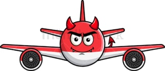 Crafty devil airplane emoticon. PNG - JPG and vector EPS file formats (infinitely scalable). Image isolated on transparent background.