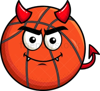 Crafty devil basketball emoticon. PNG - JPG and vector EPS file formats (infinitely scalable). Image isolated on transparent background.