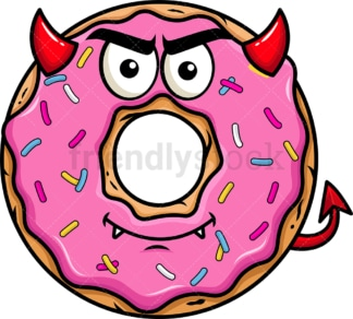 Crafty devil donut emoticon. PNG - JPG and vector EPS file formats (infinitely scalable). Image isolated on transparent background.
