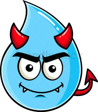 Crafty devil raindrop emoticon. PNG - JPG and vector EPS file formats (infinitely scalable). Image isolated on transparent background.