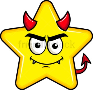 Crafty devil star emoticon. PNG - JPG and vector EPS file formats (infinitely scalable). Image isolated on transparent background.