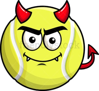 Crafty devil tennis ball emoticon. PNG - JPG and vector EPS file formats (infinitely scalable). Image isolated on transparent background.