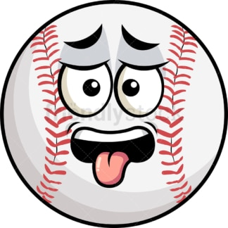 Disgusted baseball emoticon. PNG - JPG and vector EPS file formats (infinitely scalable). Image isolated on transparent background.