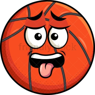 Disgusted basketball emoticon. PNG - JPG and vector EPS file formats (infinitely scalable). Image isolated on transparent background.