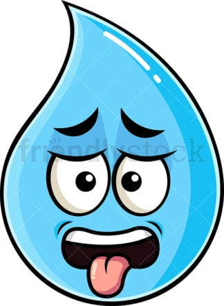 Disgusted raindrop emoticon. PNG - JPG and vector EPS file formats (infinitely scalable). Image isolated on transparent background.