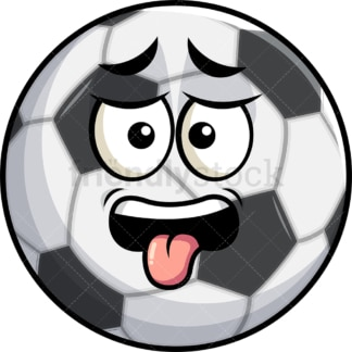 Disgusted soccer ball emoticon. PNG - JPG and vector EPS file formats (infinitely scalable). Image isolated on transparent background.