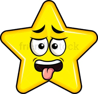 Disgusted star emoticon. PNG - JPG and vector EPS file formats (infinitely scalable). Image isolated on transparent background.