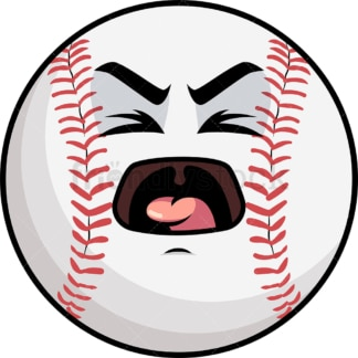 Yelling baseball emoticon. PNG - JPG and vector EPS file formats (infinitely scalable). Image isolated on transparent background.