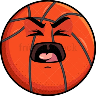 Yelling basketball emoticon. PNG - JPG and vector EPS file formats (infinitely scalable). Image isolated on transparent background.