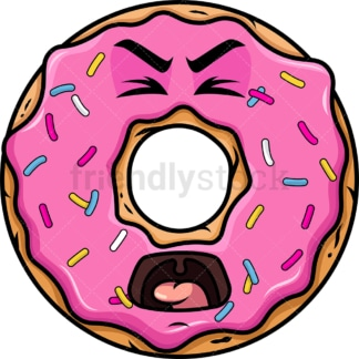 Yelling donut emoticon. PNG - JPG and vector EPS file formats (infinitely scalable). Image isolated on transparent background.