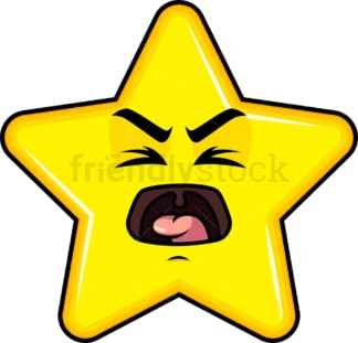 Yelling star emoticon. PNG - JPG and vector EPS file formats (infinitely scalable). Image isolated on transparent background.
