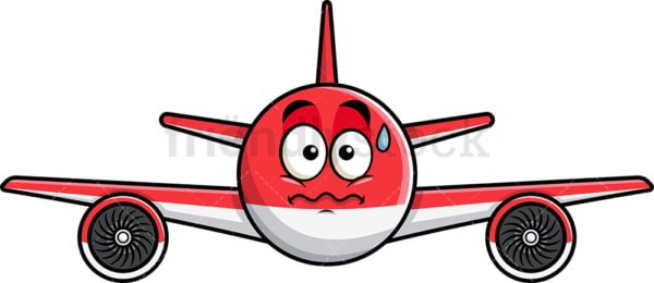 Nervous airplane emoticon. PNG - JPG and vector EPS file formats (infinitely scalable). Image isolated on transparent background.