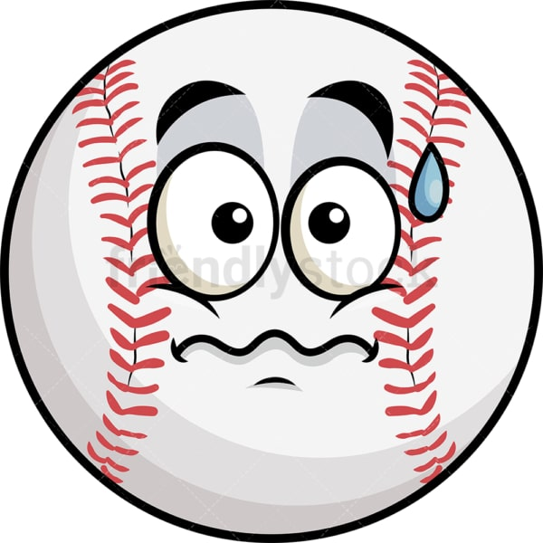 Nervous baseball emoticon. PNG - JPG and vector EPS file formats (infinitely scalable). Image isolated on transparent background.
