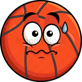 Nervous basketball emoticon. PNG - JPG and vector EPS file formats (infinitely scalable). Image isolated on transparent background.