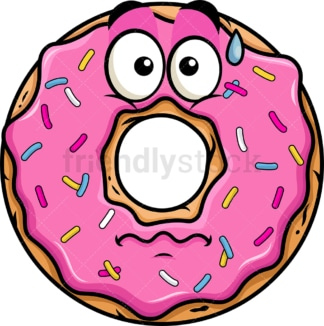 Nervous donut emoticon. PNG - JPG and vector EPS file formats (infinitely scalable). Image isolated on transparent background.