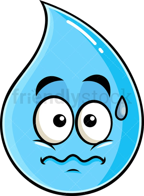Nervous raindrop emoticon. PNG - JPG and vector EPS file formats (infinitely scalable). Image isolated on transparent background.