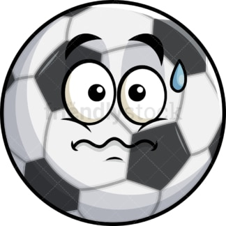 Nervous soccer ball emoticon. PNG - JPG and vector EPS file formats (infinitely scalable). Image isolated on transparent background.
