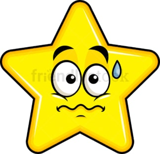 Nervous star emoticon. PNG - JPG and vector EPS file formats (infinitely scalable). Image isolated on transparent background.