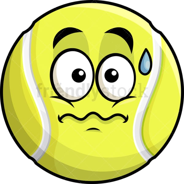 Nervous tennis ball emoticon. PNG - JPG and vector EPS file formats (infinitely scalable). Image isolated on transparent background.