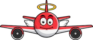 With wings and halo airplane emoticon. PNG - JPG and vector EPS file formats (infinitely scalable). Image isolated on transparent background.