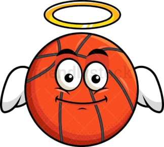 With wings and halo basketball emoticon. PNG - JPG and vector EPS file formats (infinitely scalable). Image isolated on transparent background.