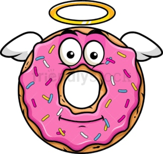 With wings and halo donut emoticon. PNG - JPG and vector EPS file formats (infinitely scalable). Image isolated on transparent background.