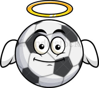 With wings and halo soccer ball emoticon. PNG - JPG and vector EPS file formats (infinitely scalable). Image isolated on transparent background.