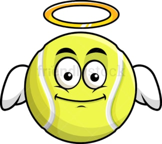 With wings and halo tennis ball emoticon. PNG - JPG and vector EPS file formats (infinitely scalable). Image isolated on transparent background.