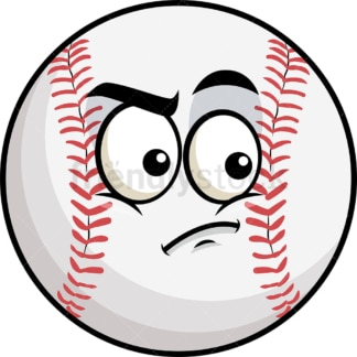 Irritated baseball emoticon. PNG - JPG and vector EPS file formats (infinitely scalable). Image isolated on transparent background.