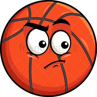 Irritated basketball emoticon. PNG - JPG and vector EPS file formats (infinitely scalable). Image isolated on transparent background.