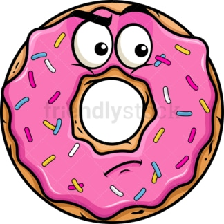 Irritated donut emoticon. PNG - JPG and vector EPS file formats (infinitely scalable). Image isolated on transparent background.