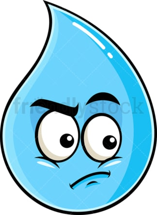 Irritated raindrop emoticon. PNG - JPG and vector EPS file formats (infinitely scalable). Image isolated on transparent background.