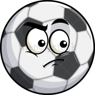 Irritated soccer ball emoticon. PNG - JPG and vector EPS file formats (infinitely scalable). Image isolated on transparent background.