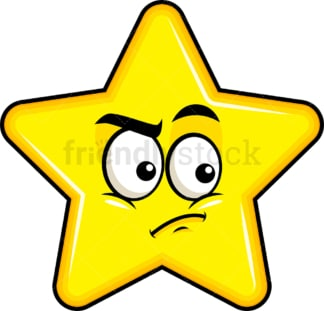 Irritated star emoticon. PNG - JPG and vector EPS file formats (infinitely scalable). Image isolated on transparent background.