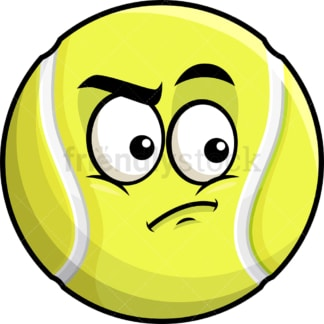 Irritated tennis ball emoticon. PNG - JPG and vector EPS file formats (infinitely scalable). Image isolated on transparent background.