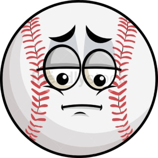 Depressed baseball emoticon. PNG - JPG and vector EPS file formats (infinitely scalable). Image isolated on transparent background.
