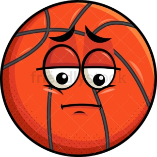 Depressed basketball emoticon. PNG - JPG and vector EPS file formats (infinitely scalable). Image isolated on transparent background.