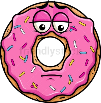 Depressed donut emoticon. PNG - JPG and vector EPS file formats (infinitely scalable). Image isolated on transparent background.