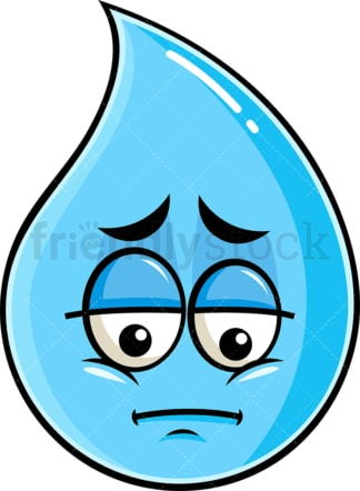 Depressed raindrop emoticon. PNG - JPG and vector EPS file formats (infinitely scalable). Image isolated on transparent background.
