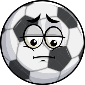 Depressed soccer ball emoticon. PNG - JPG and vector EPS file formats (infinitely scalable). Image isolated on transparent background.