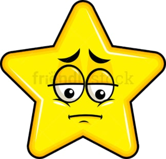 Depressed star emoticon. PNG - JPG and vector EPS file formats (infinitely scalable). Image isolated on transparent background.