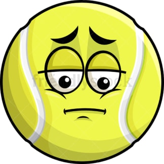 Depressed tennis ball emoticon. PNG - JPG and vector EPS file formats (infinitely scalable). Image isolated on transparent background.