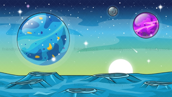 Alien world background in 16:9 aspect ratio. PNG - JPG and vector EPS file formats (infinitely scalable).
