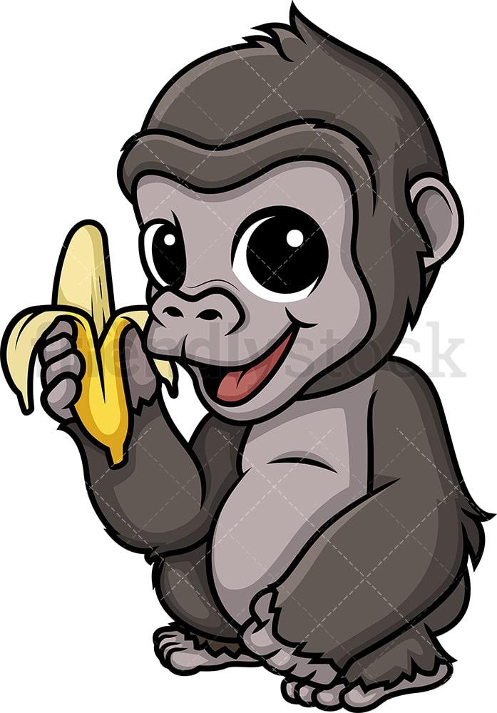 Chibi Kawaii Gorilla Clipart Cartoon Vector - FriendlyStock