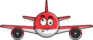 Goofy crazy eyes airplane emoticon. PNG - JPG and vector EPS file formats (infinitely scalable). Image isolated on transparent background.